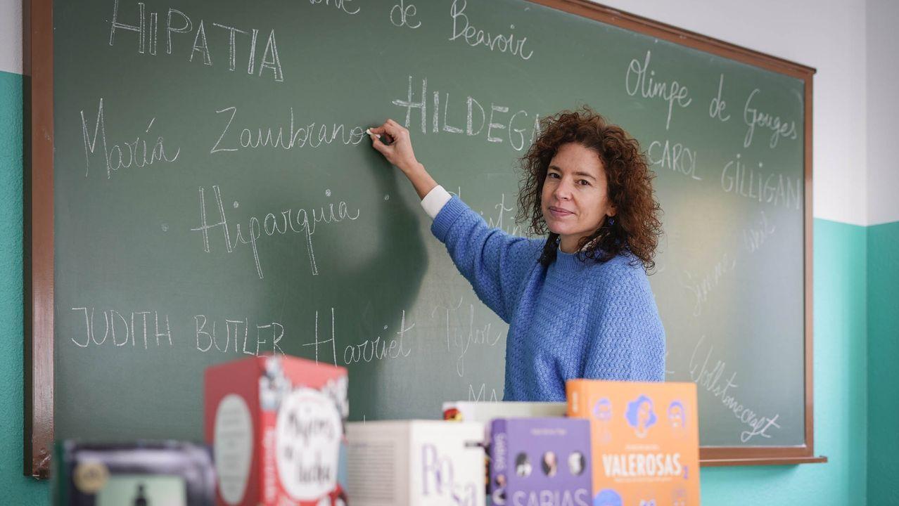 La profesora Mariade Toro en el IES de Allariz