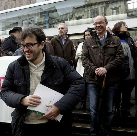 Callón y Jorquera, a la derecha, ayer en los juzgados.