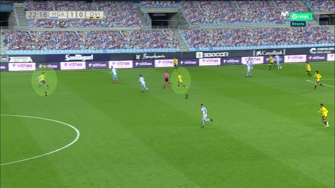 Balón largo del Oviedo desde Nieto: 1-Leschuk va al duelo con un central del Málaga. 2-Rodri, muy lejos de la acción