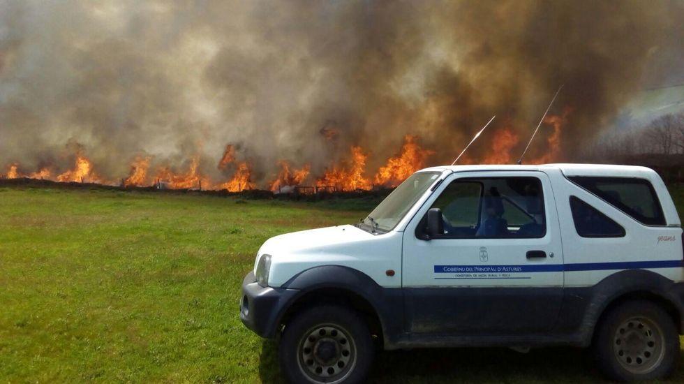 Un trabajador de las BRIF en el incendio de Seroiro, en Ibias.Incendio en Santullano de Allande, con uno de los coches de la consejería (Archivo)