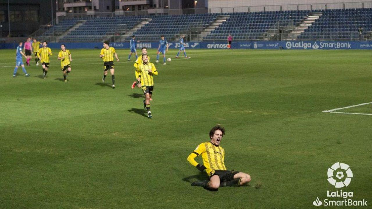 Sangalli celebra el 0-1 ante el Fuenlabrada