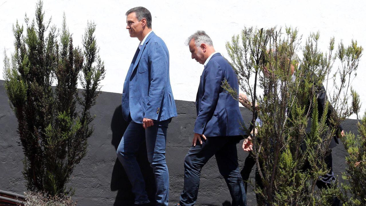 El presidente del Gobierno en funciones, Pedro Sánchez, durante su visita a la zona devastada por las llamas en Gran Canaria