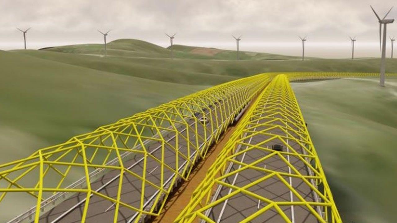 Estas son las ideas seleccionadas para acabar con la niebla en la A-8.Obras del viaducto del río Pambre de la A-54, que tendrá una longitud de un kilómetro