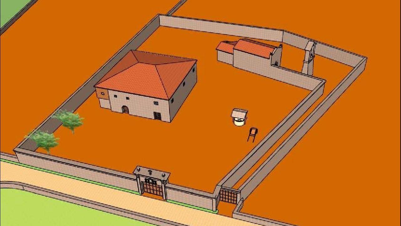 Una reconstrucción en tres dimensiones del posible aspecto del recinto del antiguo priorato de San Romao de Moreda