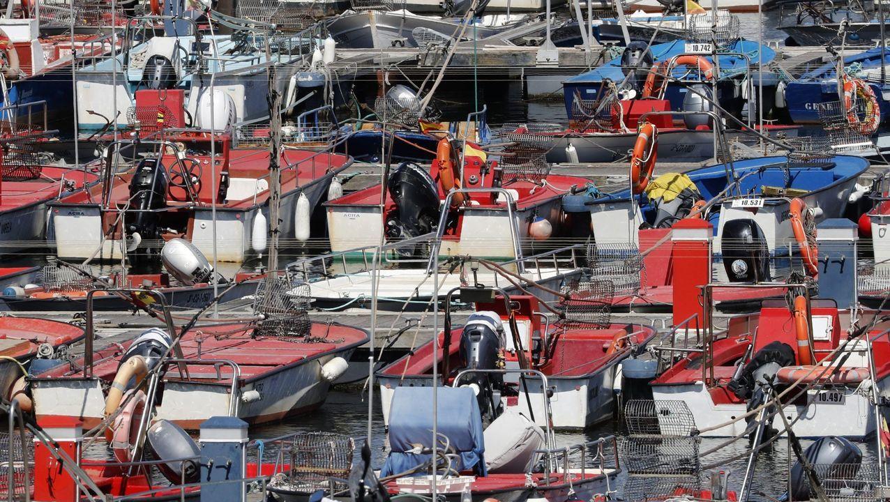 Barcos de bajura en una imagen de archivo en el puerto de Noia