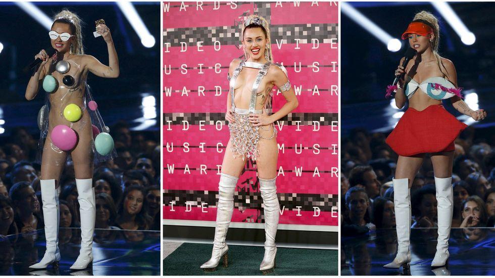 Collage de algunos de los «outfits» vestidos por Miley Cyrus en la gala