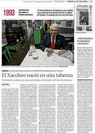 <span lang= es-es >1993: Nace el Xacobeo</span>. Portomeñe explica como el Xacobeo nació en una taberna santiaguesa.