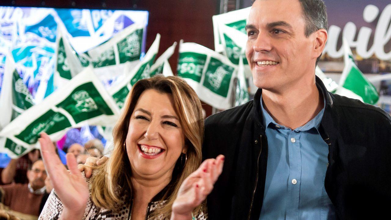 Pedro Sánchez y Susana Díaz, juntos hoy en un acto electoral en Sevilla