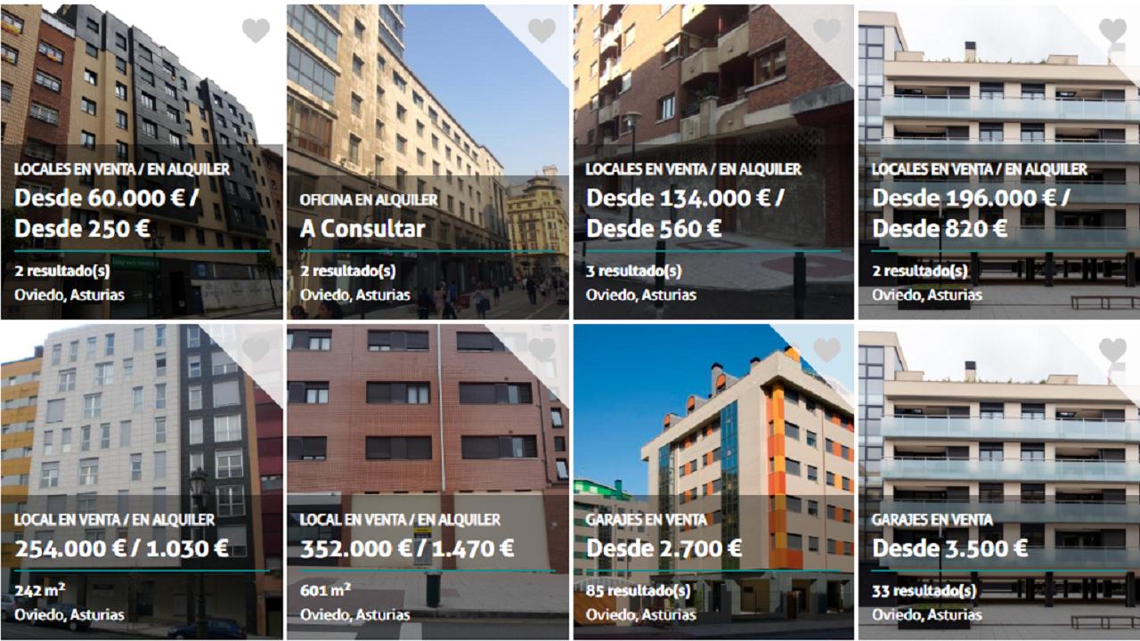 Algunos de los inmuebles que el «banco malo» tiene en Oviedo