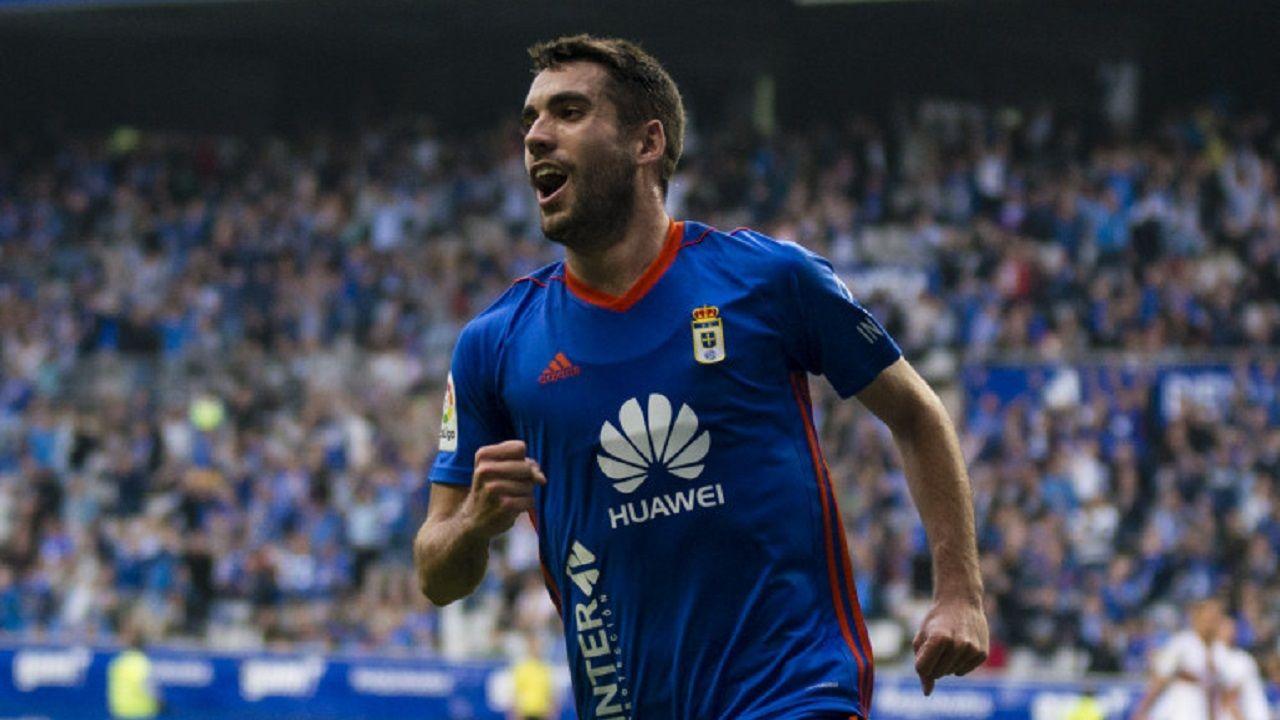 Diegui celebra su gol frente al Huesca