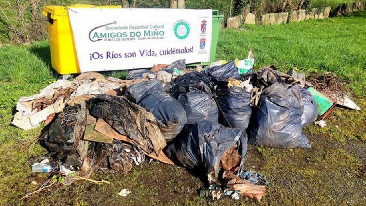Miembros de Amigos do Miño retiraron unos 25 kilos de basura