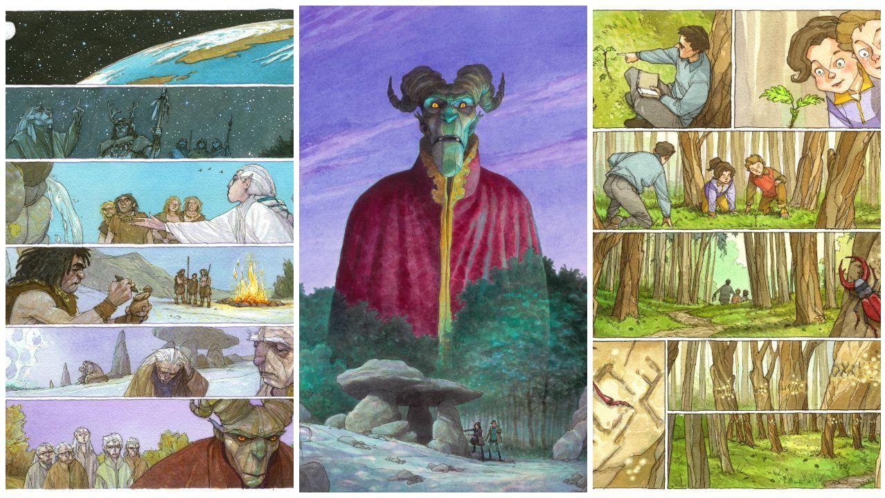 Empieza Viñetas 2020.A imaxe principal de «O pacto do letargo» e dúas paxinas da obra