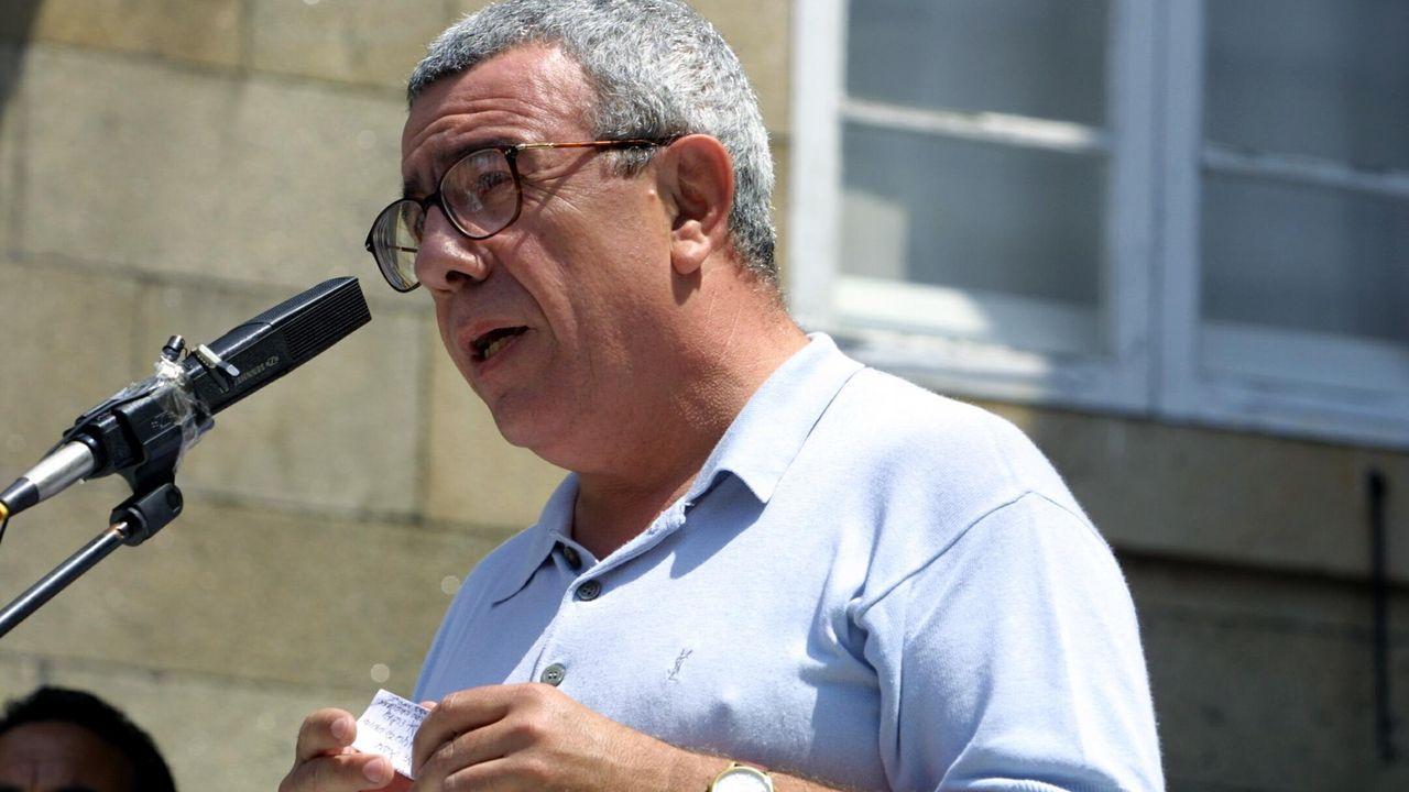 cine.Pepe Rei, durante una manifestación en Santiago con motivo del 25 de Xullo