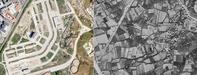 LA EVOLUCIÓN DEL OFIMÁTICO. A la izquierda, imagen del Plan Nacional de Ortofotografía Aérea correspondiente al 2017; a la derecha, captura del Vuelo Americano de 1956-1957. Las casas de Xuxán ocupaban hasta el 2012 una situación central en el actual polígono.