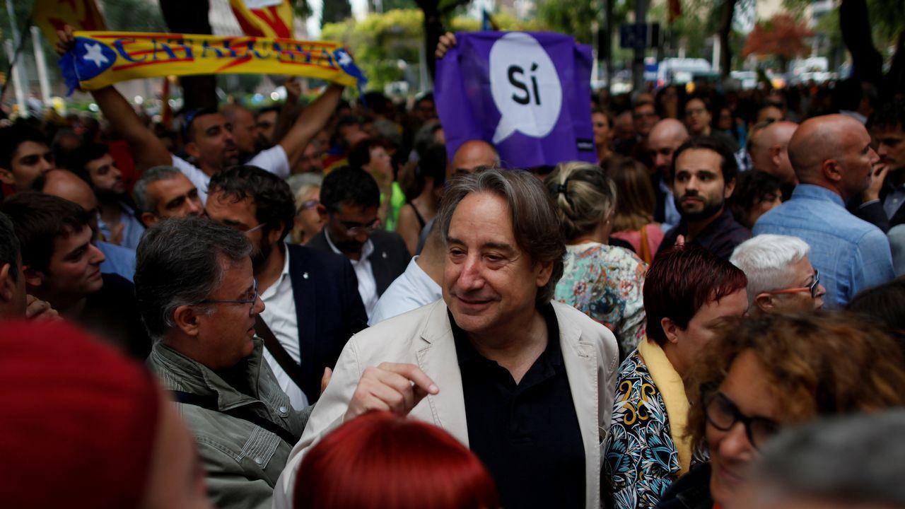 El actor Juanjo Puigcorbe, en la protesta de Barcelona