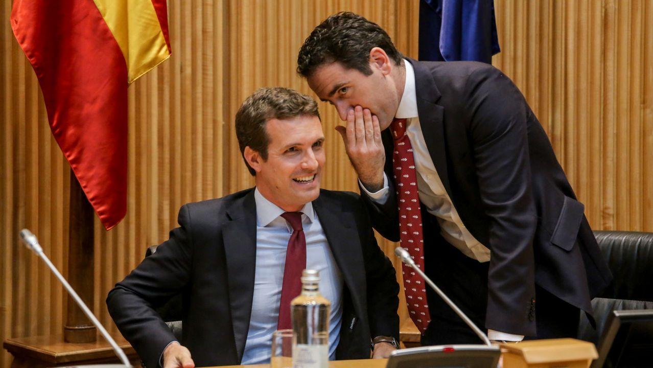 Borrell renuncia a ser eurodiputado.El presidente del PP, Pablo Casado, con el secretario general del partido, Teodoro Garcia Egea