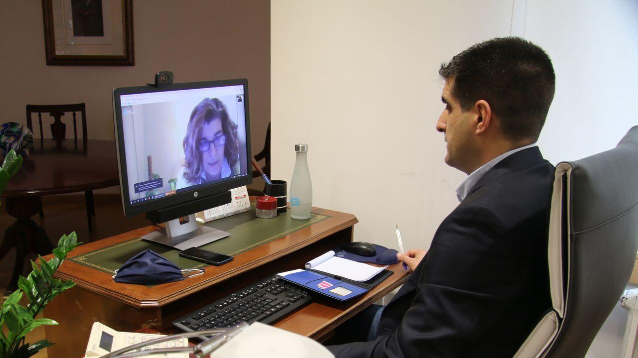 Reunión del delegado de la Xunta y la alcaldesa de Porqueira por videoconferencia