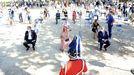 Pregón de las fiestas de A Peregrina 2020 en Pontevedra, en un espacio acotado, con el público sentado y guardando distancia de seguridad