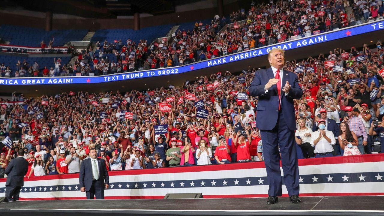 Trump no logró llenar las 19.000 localidades del recinto de Tulsa (Oklahoma) donde ofreció su primer mitin desde el estallido de la pandemia