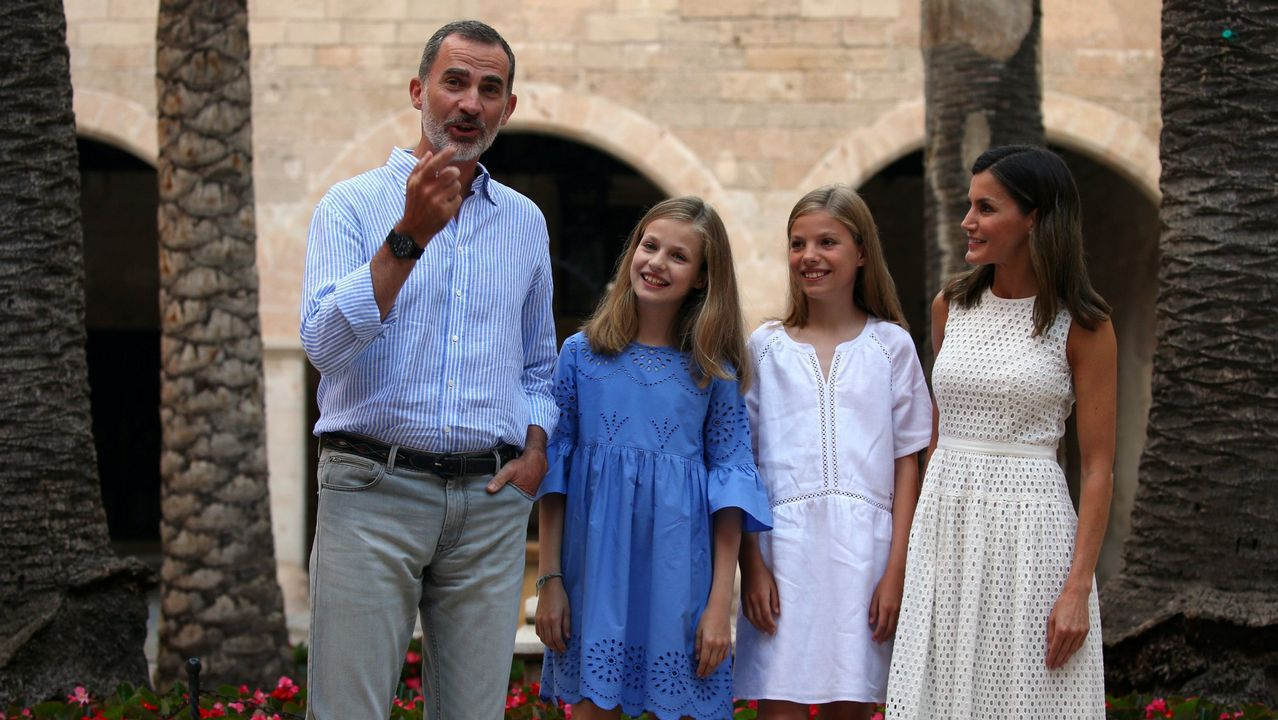 Junto a sus hijas en Palma a finales de julio del 2018