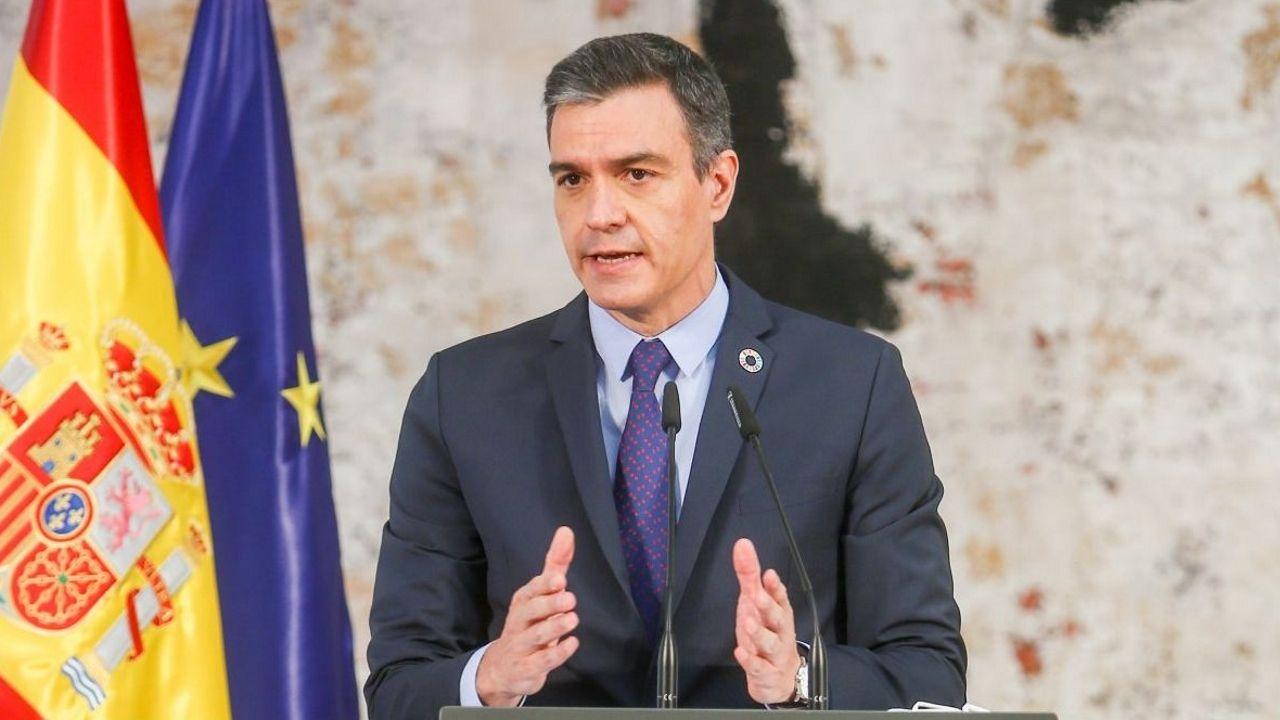 Pedro Sánchez, en un acto en Moncloa en mayo del 2021