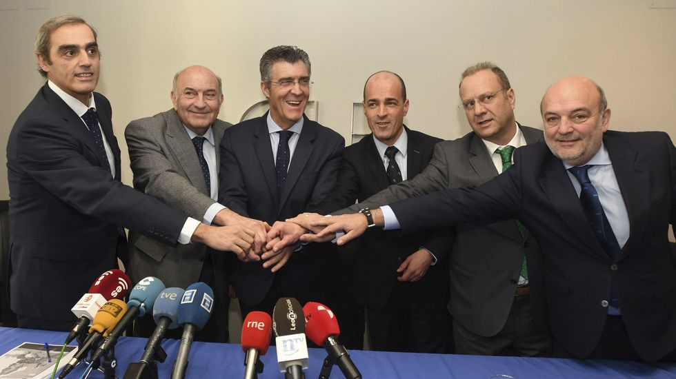 El presidente de la Federación Asturiana de Empresarios (Fade), Pedro Luis Fernández.Concentración de CCOO y UGT en Oviedo