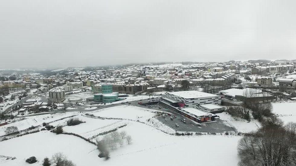 La nieve en Lalín a vista de dron
