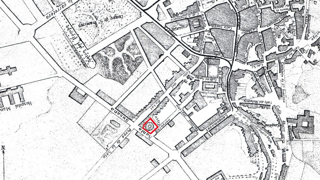 Plano de Oviedo a finales del siglo XIX donde se aprecia (marcado en rojo) dónde estaba el teatro.