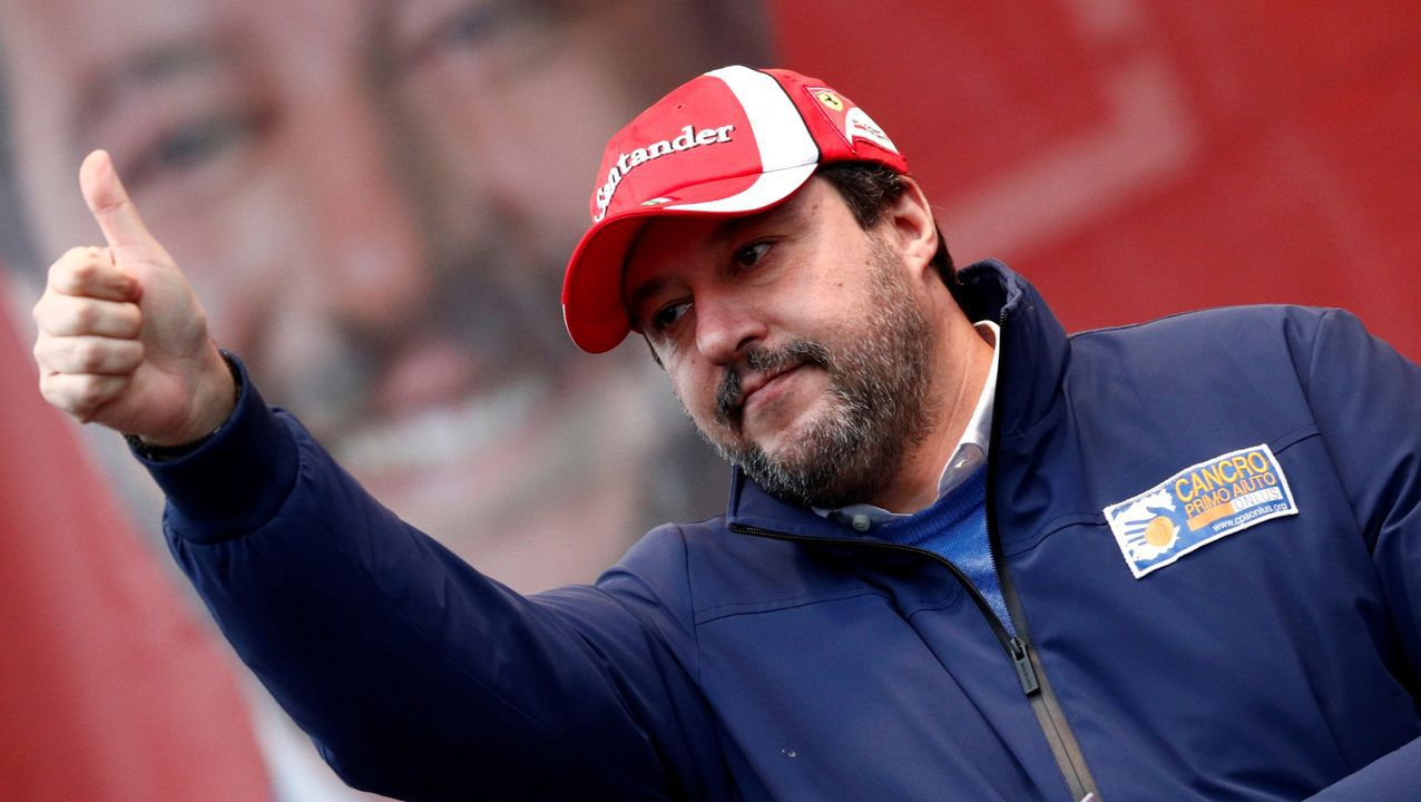 Salvini esta haciendo campaña en la región de Emilia Romaña de cara a las elecciones del domingo