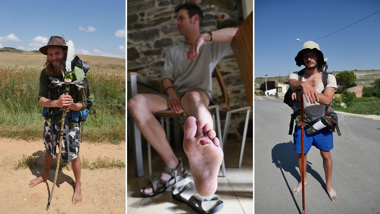 Los pies son los grandes sufridores del Camino. Solo hay que ver los de Marco Julio, un peregrino de Alicante al que vimos en Villafranca (en el centro). Hemos visto además a peregrinos que iban descalzos, como Gildas Nicot, de la Bretaña francesa y al que vimos en Burgos (derecha) o Tamino Henrich, un suizo que también vimos en tierras burgalesas