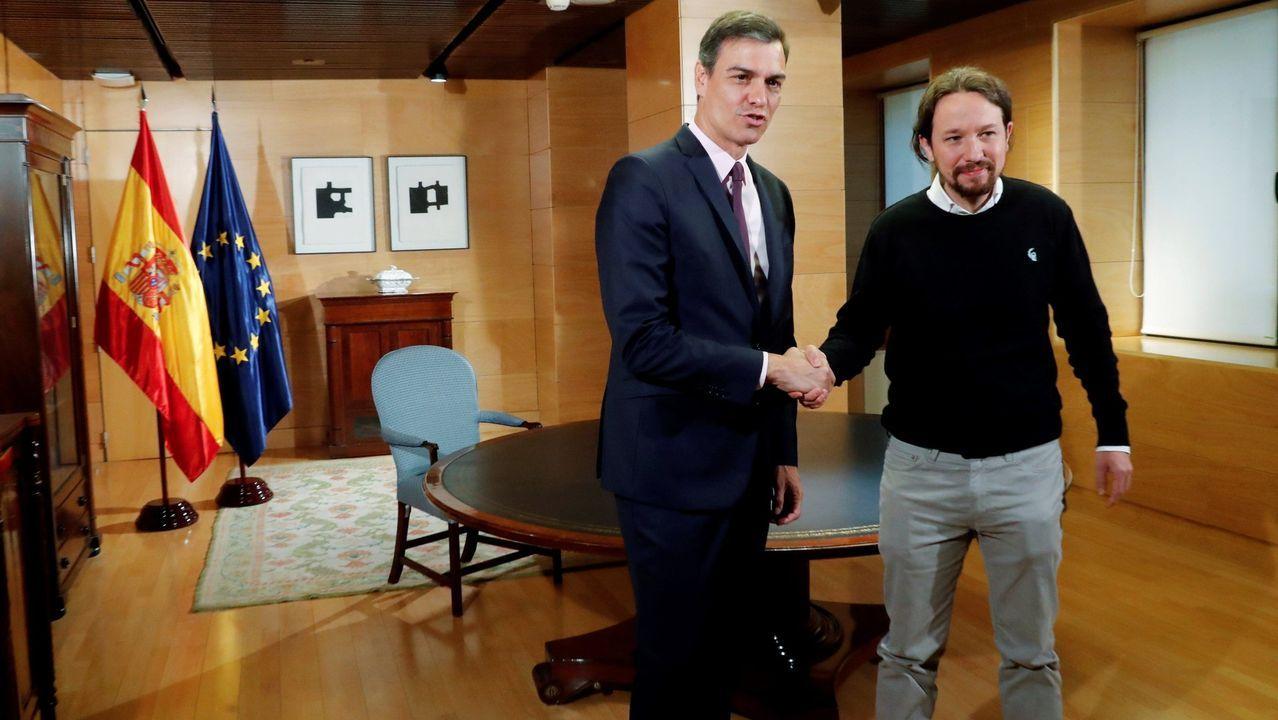 Los cinco años de reinado de Felipe VI en imágenes.Pedro Sánchez y Pablo Iglesias se reunieron el 11 de junio en el Congreso