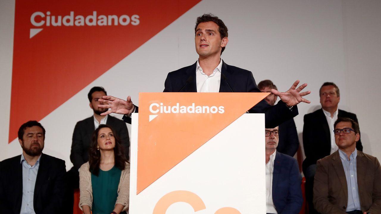 El presidente de Ciudadanos, Albert Rivera, durante su intervención en la reunión extraordinaria del Consejo General de Ciudadanos