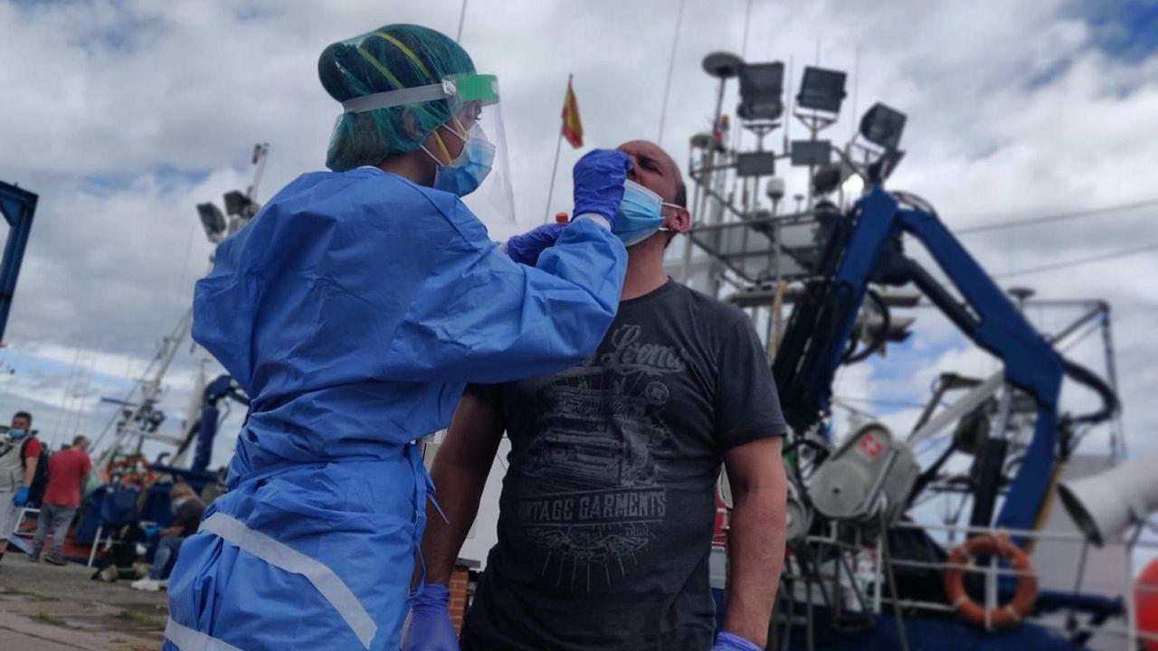 Ecologistas advierten de una nube de polvo en El Musel.Pesqueros en el puerto de Gijón