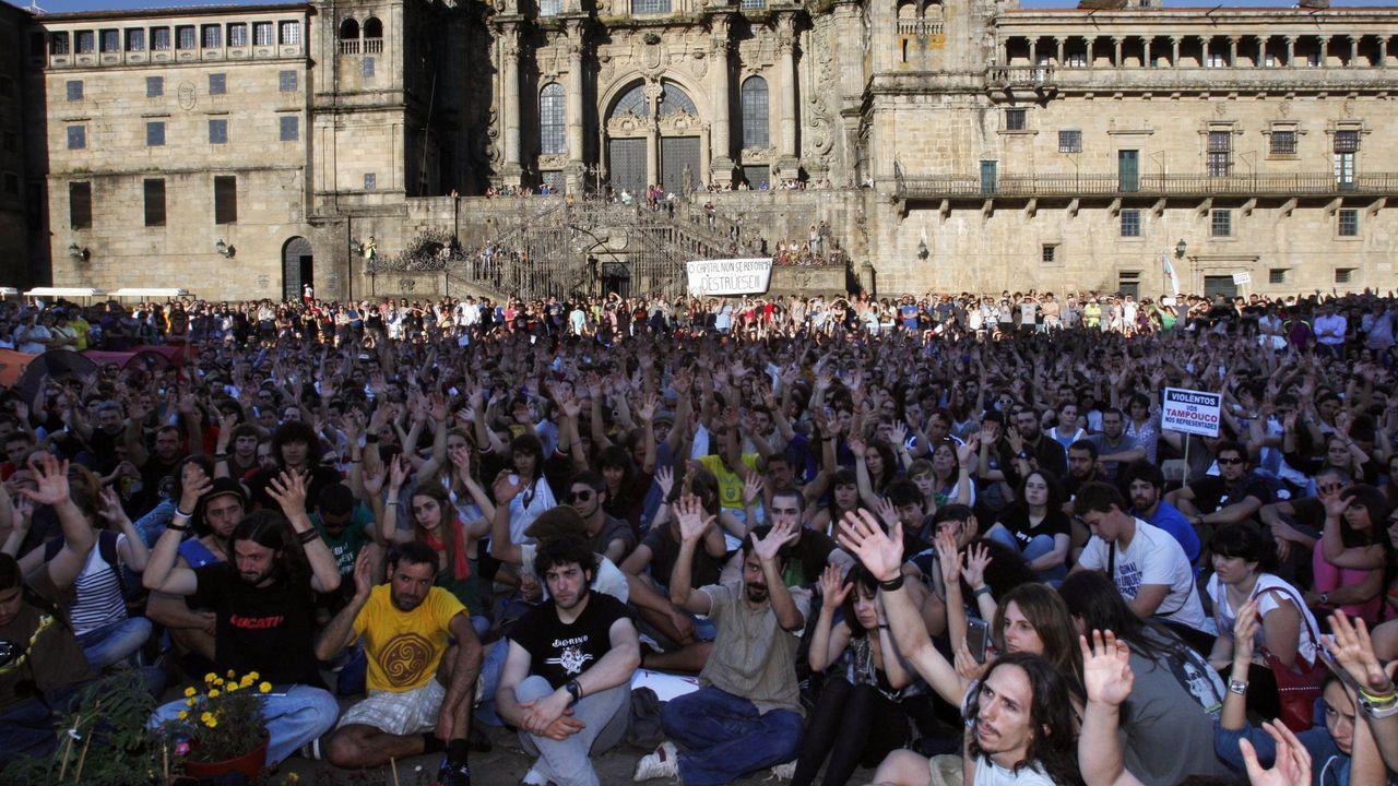 Protesta del 15M en el 2011, en la plaza del Obradoiro