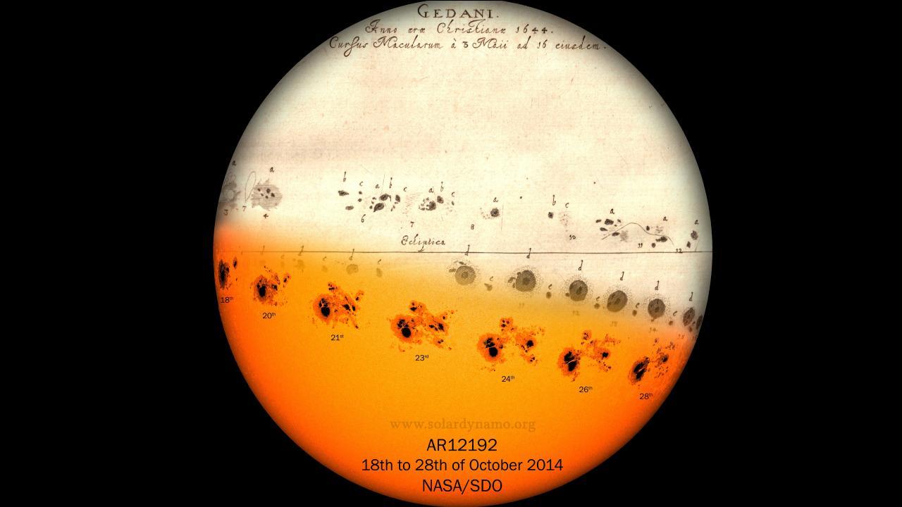 En la parte de abajo de la imagen, la progresión de una gran mancha solar desde el 18 a 28 de octubre del 2014. Arriba, la evolución de la gran mancha solar observada por Hevelius del 3 al 16 de mayo de 1644