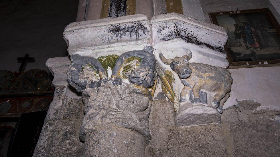 Capiteles románicos esculpidos en la iglesia de San Xillao