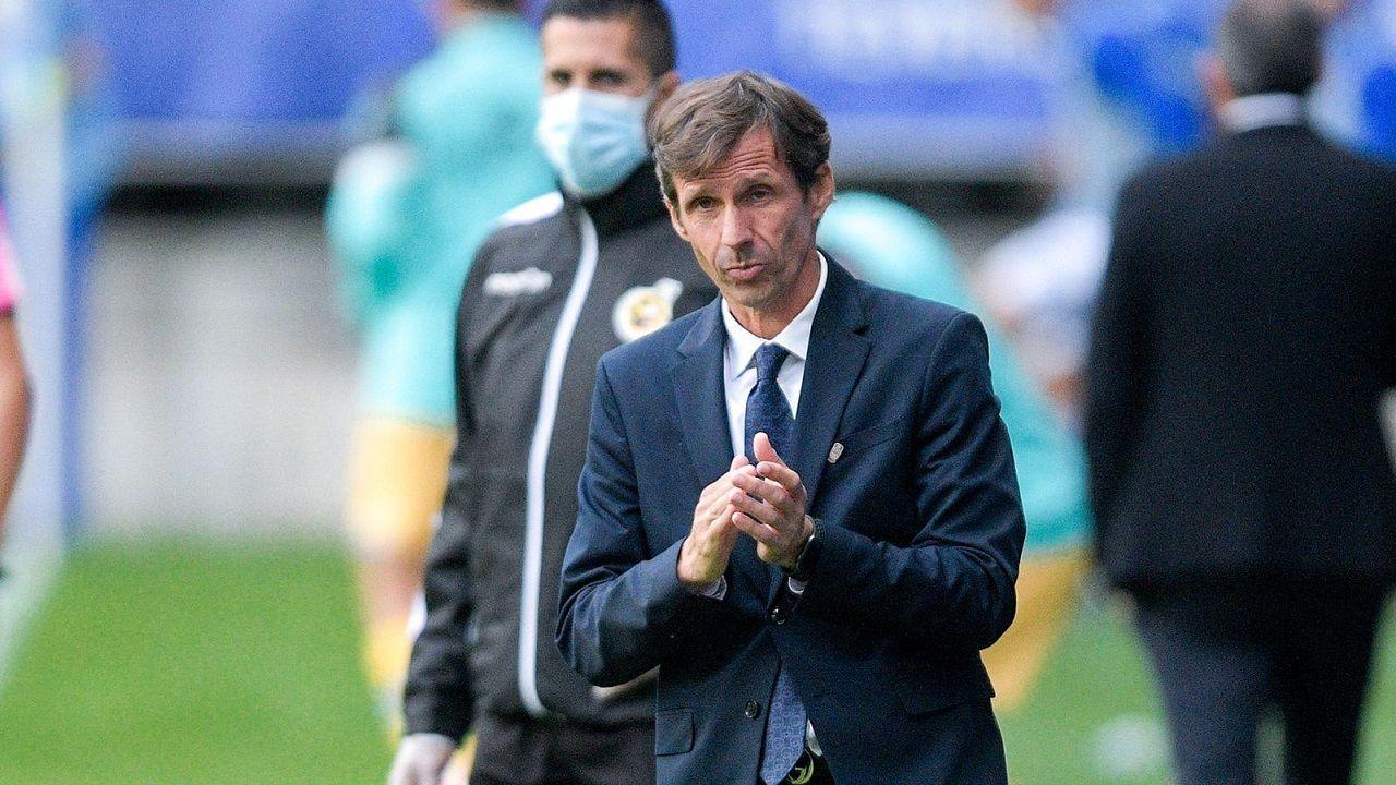 José Ángel Ziganda, durante el Real Oviedo-Espanyol