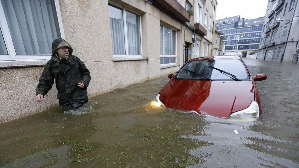 Calle de Sada, completamente inundada.