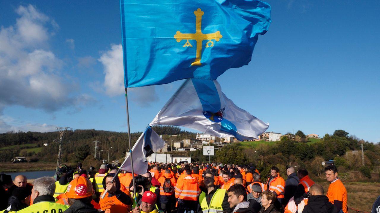 Todas las imágenes de los luchadores de Alcoa en la marcha asturgalaica.El consejero de Educación, Genaro Alonso, desde su escaño de la Junta General.