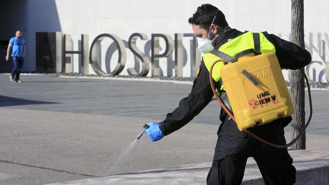 Los exteriores del HULA también fueron desinfectados por la UME