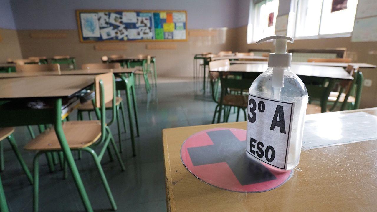 Una aula vacía en el colegio Lourdes de Valladolid