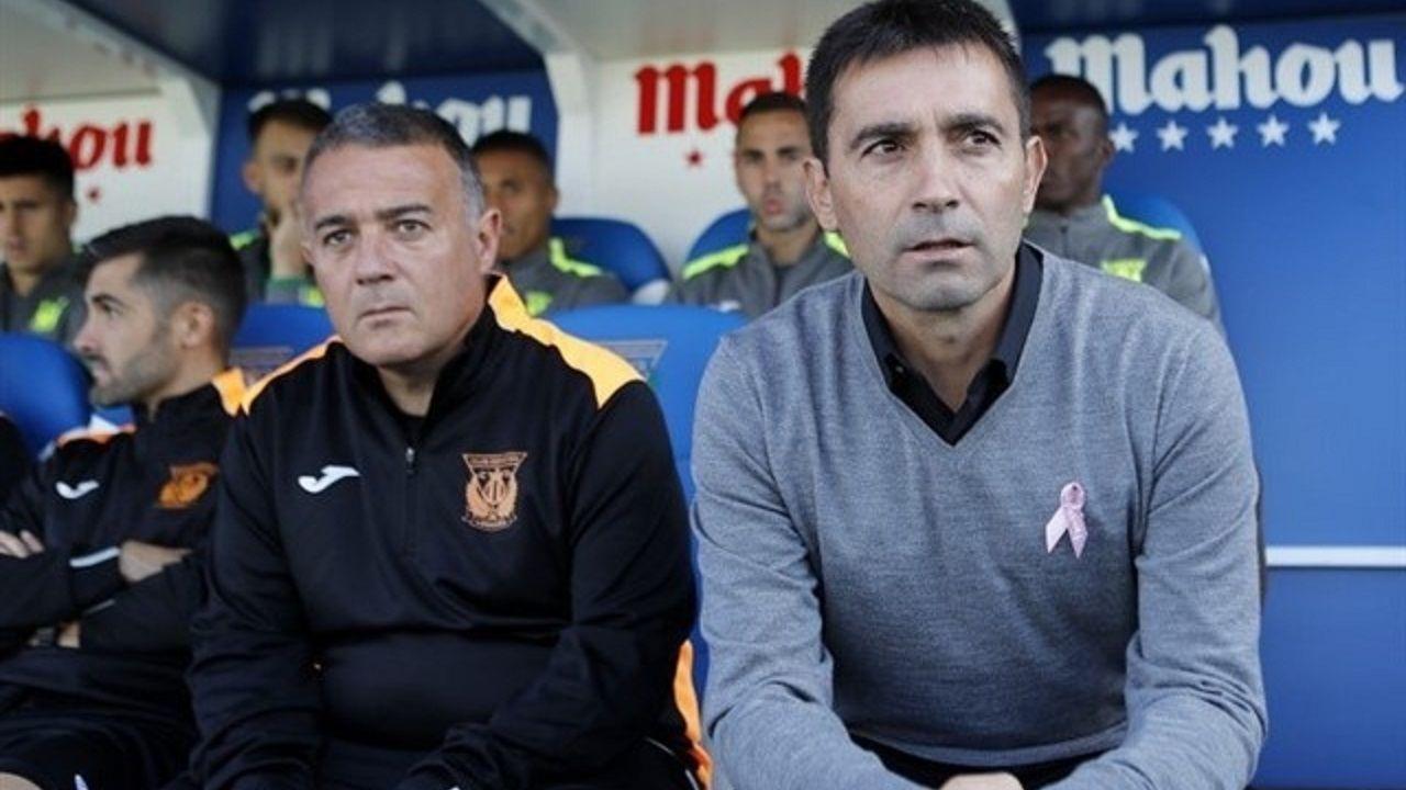 Jaime Pérez y Asier Garitano en el banquillo del Leganés