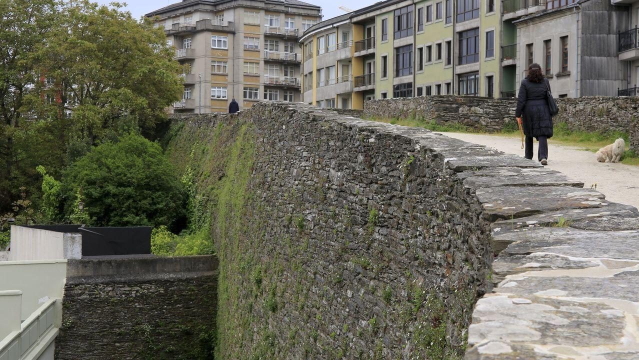 Los daños que sufre la Muralla de Lugo.El cubo XXX de la Muralla por su parte interior muestra una ondulación