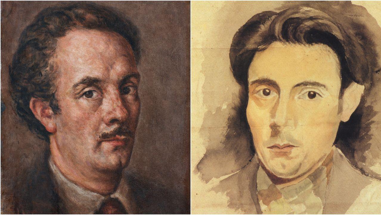 Detalle de dous autorretratos, datados en 1930 (dereita) e 1948