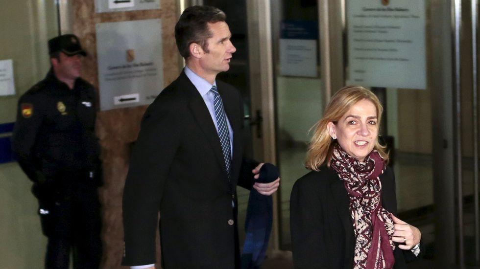 Segunda sesión del juicio por el Caso Nóos.La infanta Cristina e Iñaki Urdangarin, tras la segunda sesión del juicio por el caso Nóos