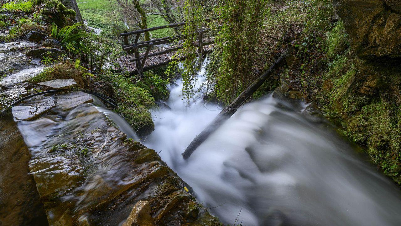 Un impetuoso arroyo brota de la boca de la cueva de Santalla de Abaixo