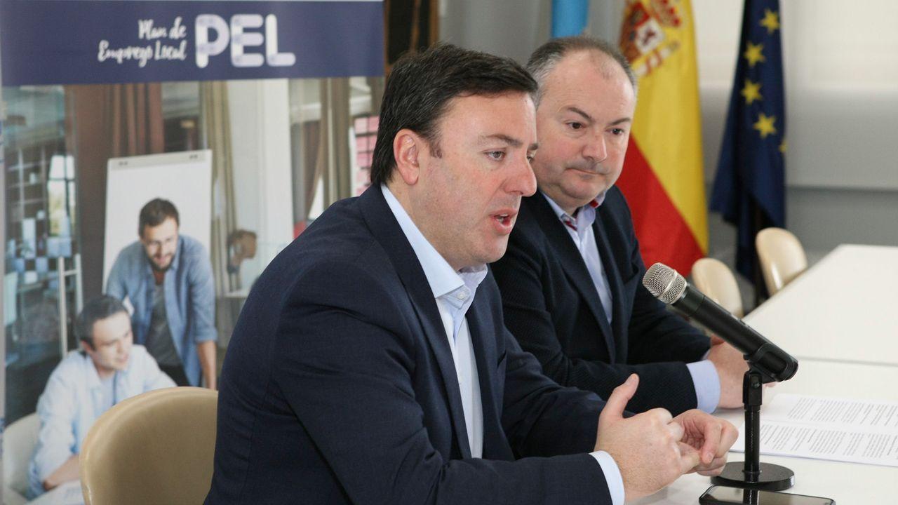 El presidente de la diputación coruñesa, Valentín González Formoso, durante la presentación de las nuevas líneas del Plan de Empleo Local (PEL)