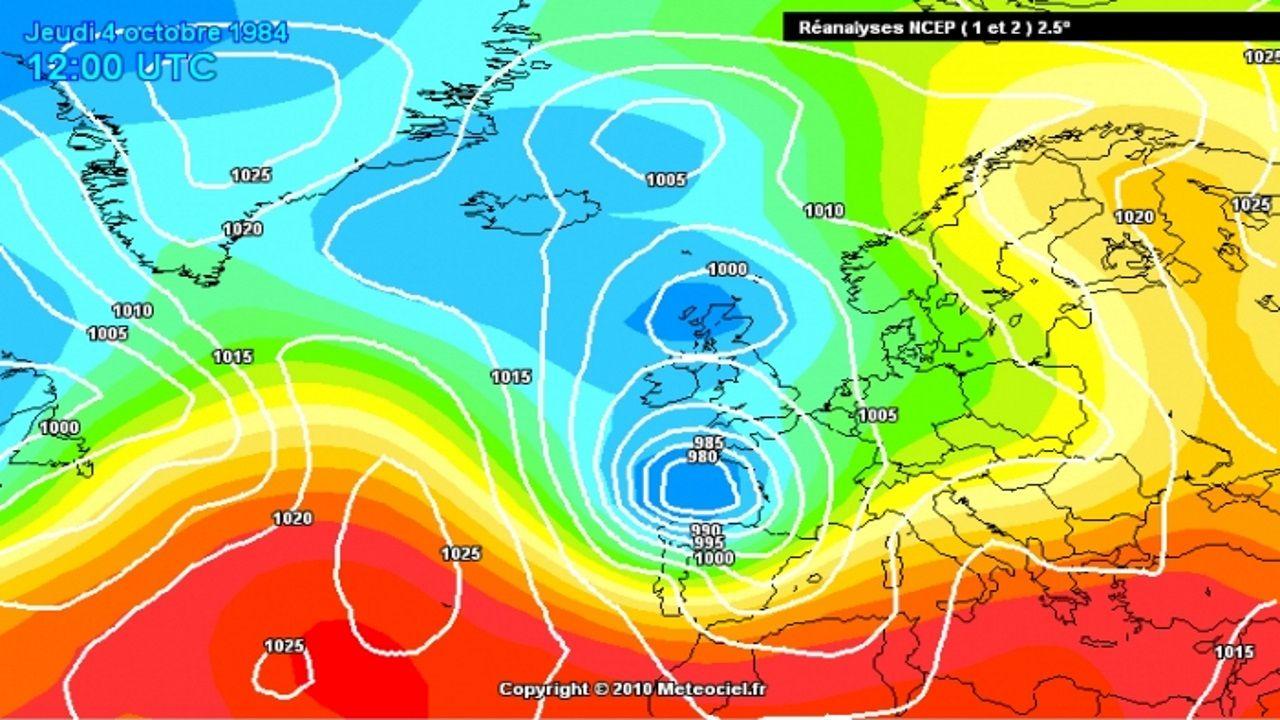 Mapa de presión correspondiente al 4 de octubre de 1984. El centro de la borrasca Hortensia estaba muy cerca de la costa de Galicia
