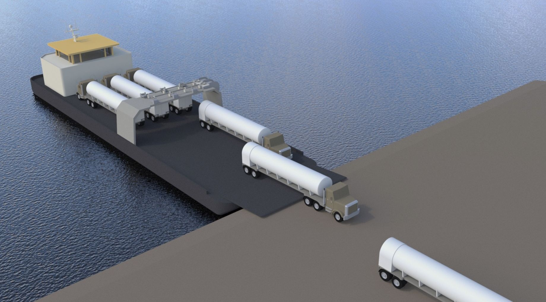 Simulación del sistema, con la barcaza atracada y los camiones cisterna cargados con GNL llegando a puerto