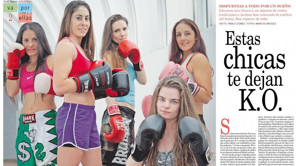 Las caras del boxeo femenino en Galicia.El director y campeón del mundo Cipriano estuvo en Ponteceso.